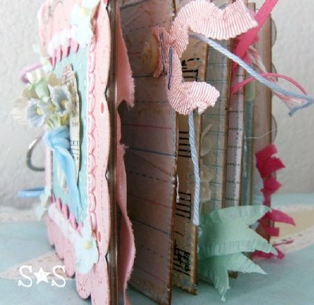 Pink altered book side view