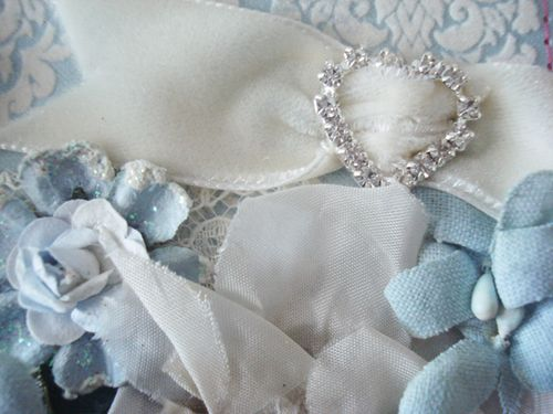Blue and cream flowers